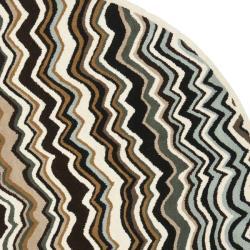Safavieh Handmade Chatham Zig-Zag Brown New Zealand Wool Rug (7' Round) - Thumbnail 1