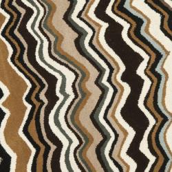 Safavieh Handmade Chatham Zig-Zag Brown New Zealand Wool Rug (7' Round) - Thumbnail 2
