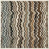 Safavieh Handmade Chatham Zig-Zag Brown New Zealand Wool Rug - 7' x 7'