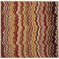 Safavieh Handmade Chatham Zig-Zag Red New Zealand Wool Rug - 7' x 7'