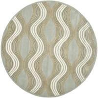Safavieh Handmade Chatham Waves Blue New Zealand Wool Rug - 7' x 7' Round
