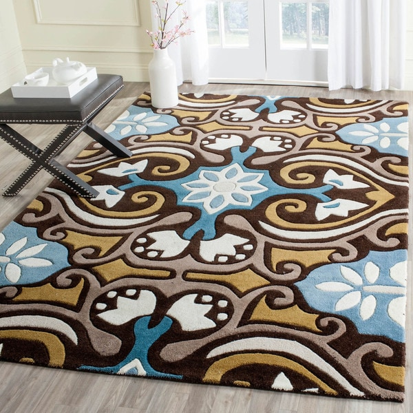 Safavieh Handmade Chatham Enchant Blue New Zealand Wool Rug (4' x 6') - 4' x 6'