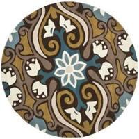 Safavieh Handmade Chatham Enchant Blue New Zealand Wool Rug - 7' x 7' Round