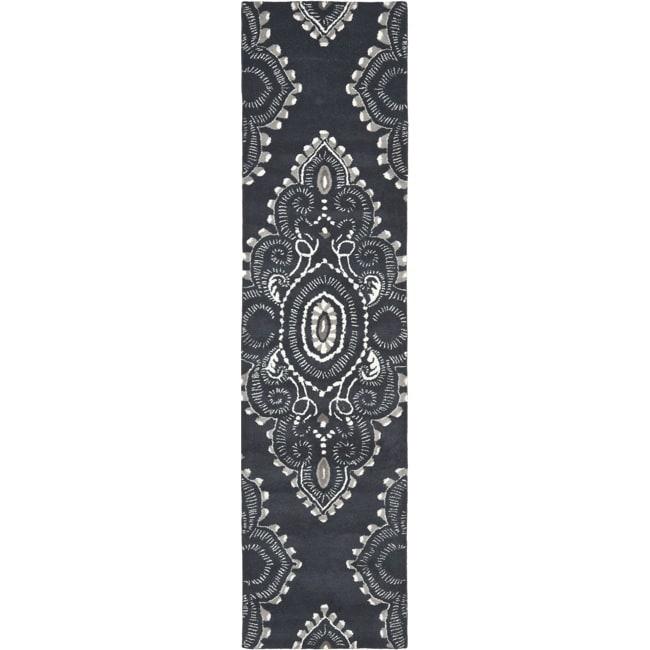 "Safavieh Handmade Chatham Mystic Dark Grey New Zealand Wool Rug - 2'3"" x 9'"