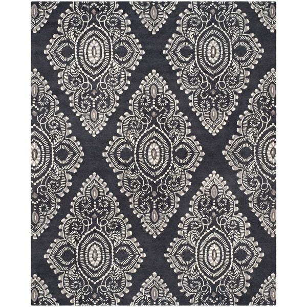 Safavieh Handmade Chatham Mystic Dark Grey New Zealand Wool Rug - 8' x 10'