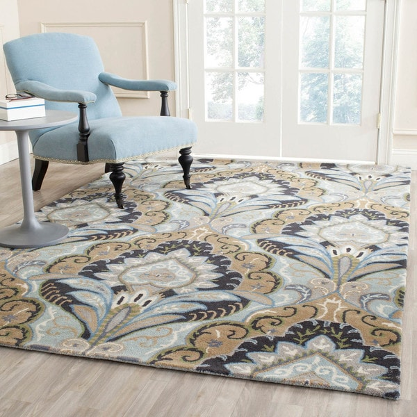 Safavieh Handmade Chatham Motif Blue New Zealand Wool Rug (4' x 6')