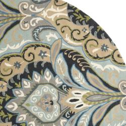Safavieh Handmade Chatham Motif Blue New Zealand Wool Rug (7' Round) - Thumbnail 1
