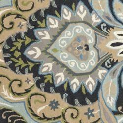 Safavieh Handmade Chatham Motif Blue New Zealand Wool Rug (7' Round) - Thumbnail 2