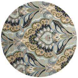 Safavieh Handmade Chatham Motif Blue New Zealand Wool Rug (7' Round) - 7' - Thumbnail 0