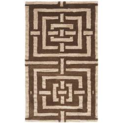 Safavieh Handmade Chatham Basketweave Brown New Zealand Wool Rug (2'6 x 4')