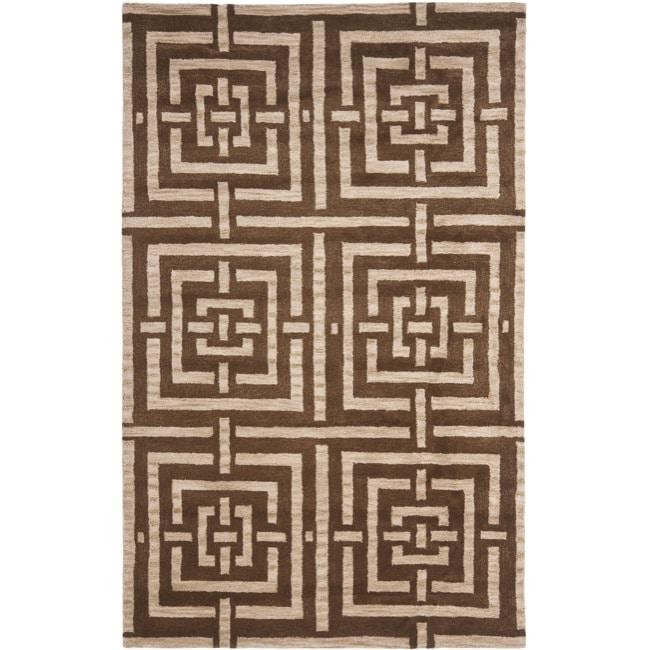 Safavieh Handmade Chatham Basketweave Brown New Zealand Wool Rug - 5' x 8'
