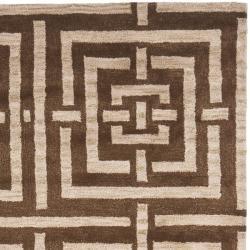 Safavieh Handmade Chatham Basketweave Brown New Zealand Wool Rug (5' x 8') - Thumbnail 1
