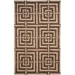Safavieh Handmade Chatham Basketweave Brown New Zealand Wool Rug - 5' x 8' - Thumbnail 0