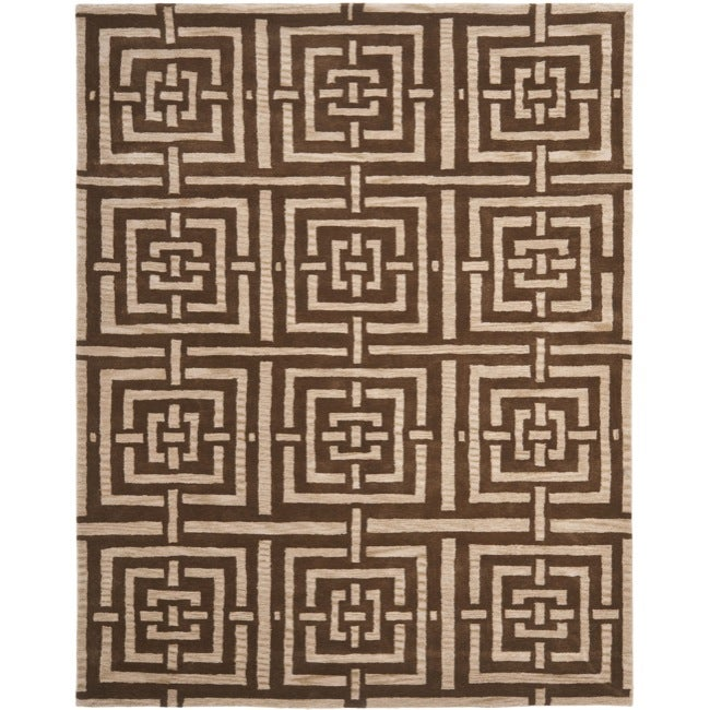 Safavieh Handmade Chatham Basketweave Brown New Zealand Wool Rug - 8' x 10'