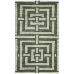 Safavieh Handmade Chatham Basketweave Sage New Zealand Wool Rug (2'6 x 4')