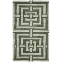 Safavieh Handmade Chatham Basketweave Sage New Zealand Wool Rug - 2'6 x 4'