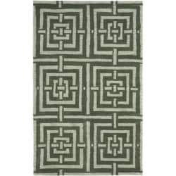 Safavieh Handmade Chatham Basketweave Sage New Zealand Wool Rug (4' x 6')