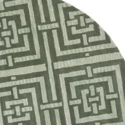Safavieh Handmade Chatham Basketweave Sage New Zealand Wool Rug (7' Round) - Thumbnail 1