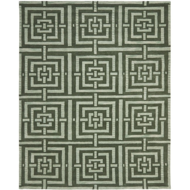 Safavieh Handmade Chatham Basketweave Sage New Zealand Wool Rug (8' x 10')