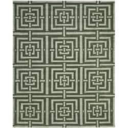 Safavieh Handmade Chatham Basketweave Sage New Zealand Wool Rug - 8' x 10' - Thumbnail 0