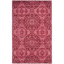 Safavieh Handmade Chatham Treasures Red New Zealand Wool Rug (4' x 6')