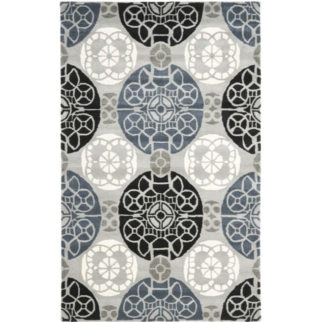 Safavieh Handmade Chatham Treasures Grey New Zealand Wool Rug (5' x 8')