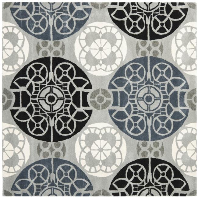 Safavieh Handmade Chatham Treasures Grey New Zealand Wool Rug (7' Square)