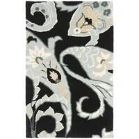 Safavieh Handmade Chatham Gardens Black New Zealand Wool Rug - 2'6 x 4'
