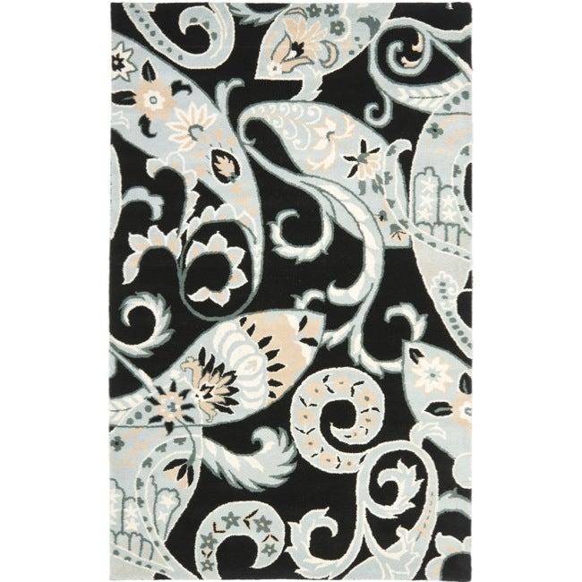 Safavieh Handmade Chatham Gardens Black New Zealand Wool Rug (4' x 6')