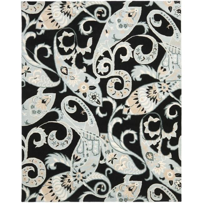 Safavieh Handmade Chatham Gardens Black New Zealand Wool Rug - 8' x 10'