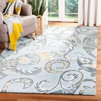 Safavieh Handmade Chatham Gardens Blue New Zealand Wool Rug - 4' x 6'