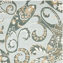 Safavieh Handmade Chatham Gardens Blue New Zealand Wool Rug (8' x 10') - Thumbnail 1