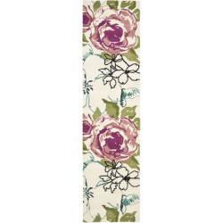 Safavieh Handmade Chatham Roses Ivory New Zealand Wool Rug (2'3 x 9')