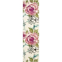 "Safavieh Handmade Chatham Roses Ivory New Zealand Wool Rug - 2'3"" x 9'"