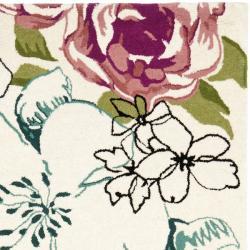 Safavieh Handmade Chatham Roses Ivory New Zealand Wool Rug (4' x 6') - Thumbnail 1