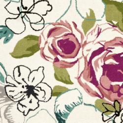 Safavieh Handmade Chatham Roses Ivory New Zealand Wool Rug (4' x 6') - Thumbnail 2