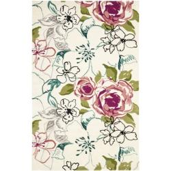 Safavieh Handmade Chatham Roses Ivory New Zealand Wool Rug (4' x 6')