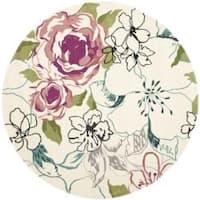 Safavieh Handmade Chatham Roses Ivory New Zealand Wool Rug (7' Round) - 7' x 7'