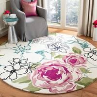 Safavieh Handmade Chatham Roses Ivory New Zealand Wool Rug - 7' X 7' Round