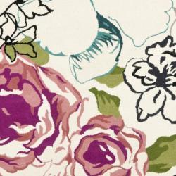 Safavieh Handmade Chatham Roses Ivory New Zealand Wool Rug (7' Square) - Thumbnail 2