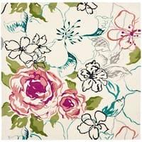 Safavieh Handmade Chatham Roses Ivory New Zealand Wool Rug - 7' x 7' Square