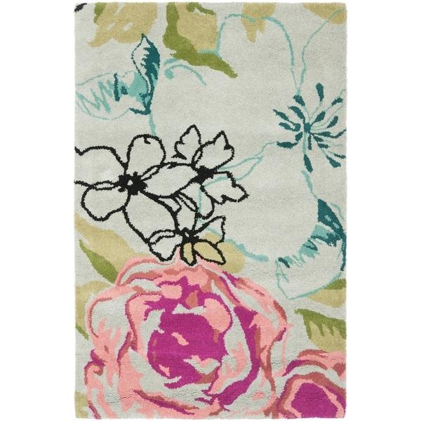 "Safavieh Handmade Chatham Roses Blue New Zealand Wool Rug - 2'-6"" x 4'"
