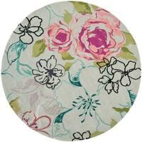 Safavieh Handmade Chatham Roses Blue New Zealand Wool Rug - 7' X 7' Round