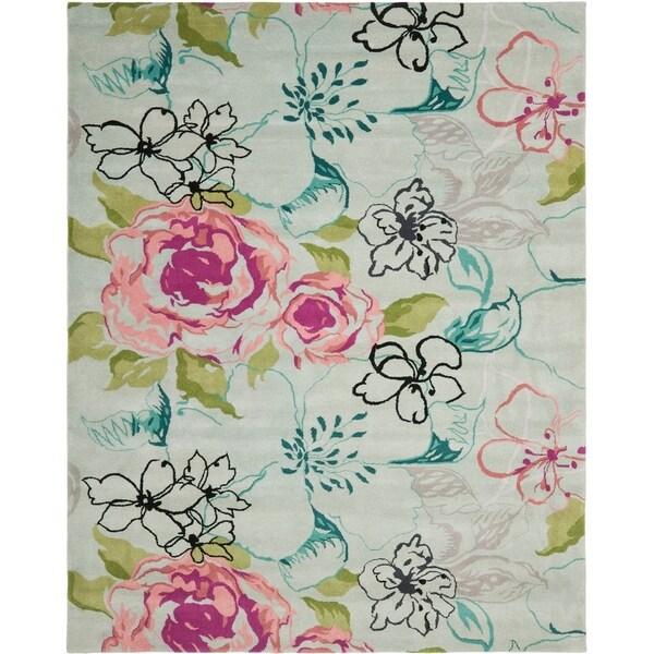 Safavieh Handmade Chatham Roses Blue New Zealand Wool Rug - 8' X 10'