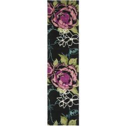 Safavieh Handmade Chatham Roses Black New Zealand Wool Rug (2'3 x 9')