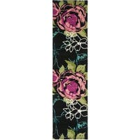 "Safavieh Handmade Chatham Roses Black New Zealand Wool Rug - 2'3"" x 9'"
