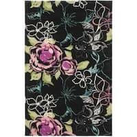Safavieh Handmade Chatham Roses Black New Zealand Wool Rug - 4' x 6'