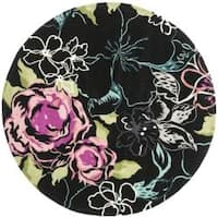 Safavieh Handmade Chatham Roses Black New Zealand Wool Rug - 7' x 7'