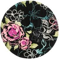 Safavieh Handmade Chatham Roses Black New Zealand Wool Rug - 7' x 7' Round