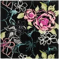 Safavieh Handmade Chatham Roses Black New Zealand Wool Rug - 7' x 7' Square